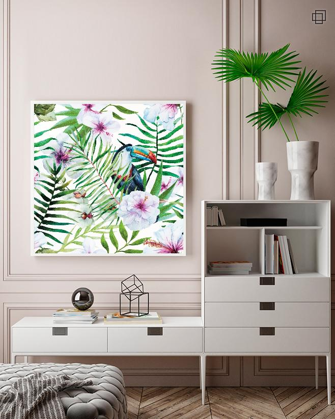 TOUCAN FLOWER PATTERN Plakat