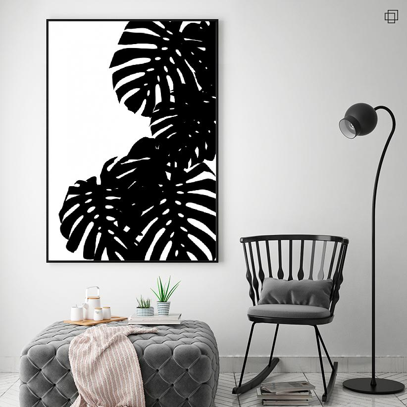 BLACK MONSTERA LEAVES Plakat